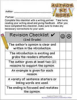Writing editing checklist 2nd grade