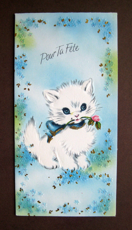 French Unused Mcm Birthday Card Envelope Sweet Kitten In 2020 Card Envelopes Birthday Cards Vintage Postage