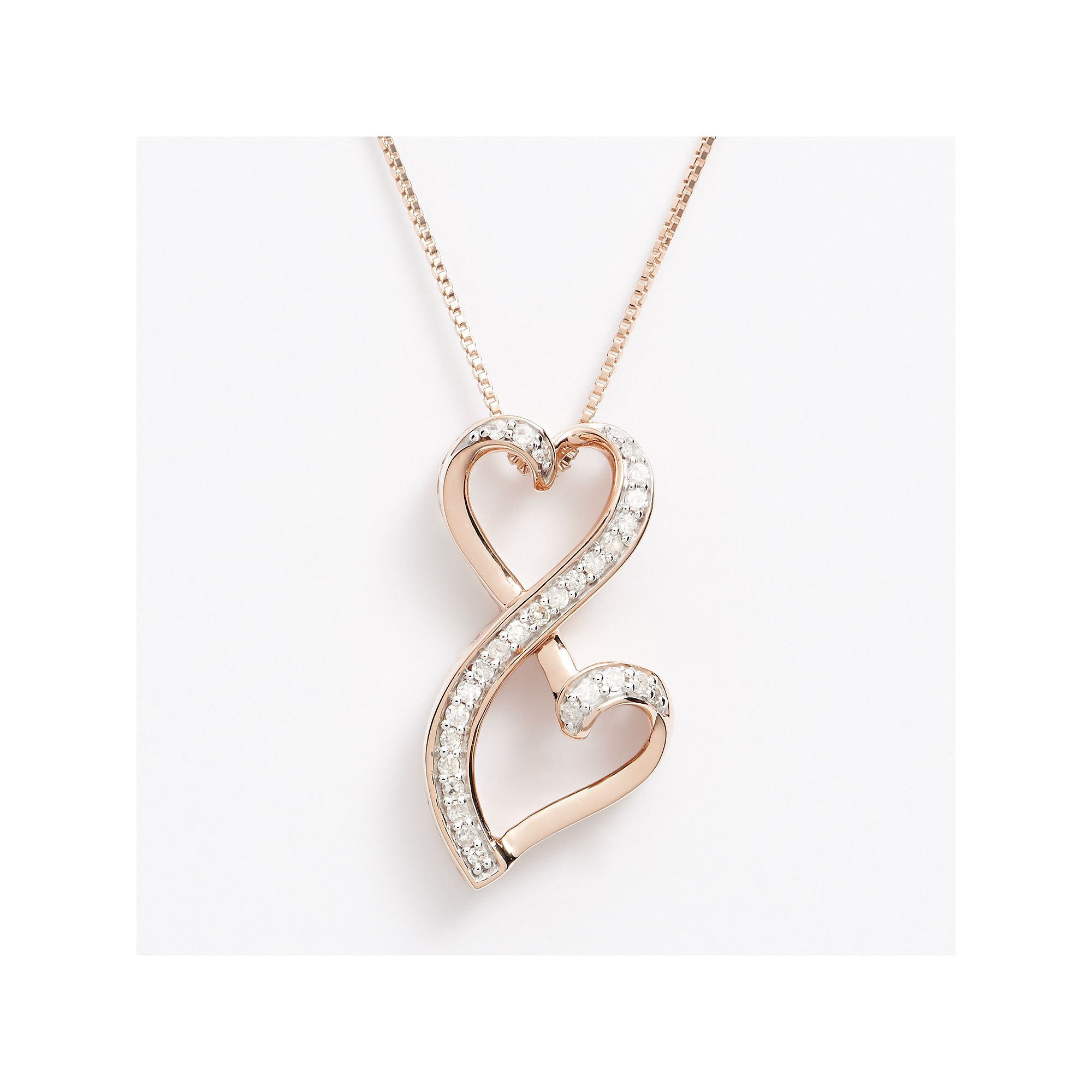 Valentine/'s Day Love Gift Heart Necklace Black and White Diamonds 14K Gold Plated