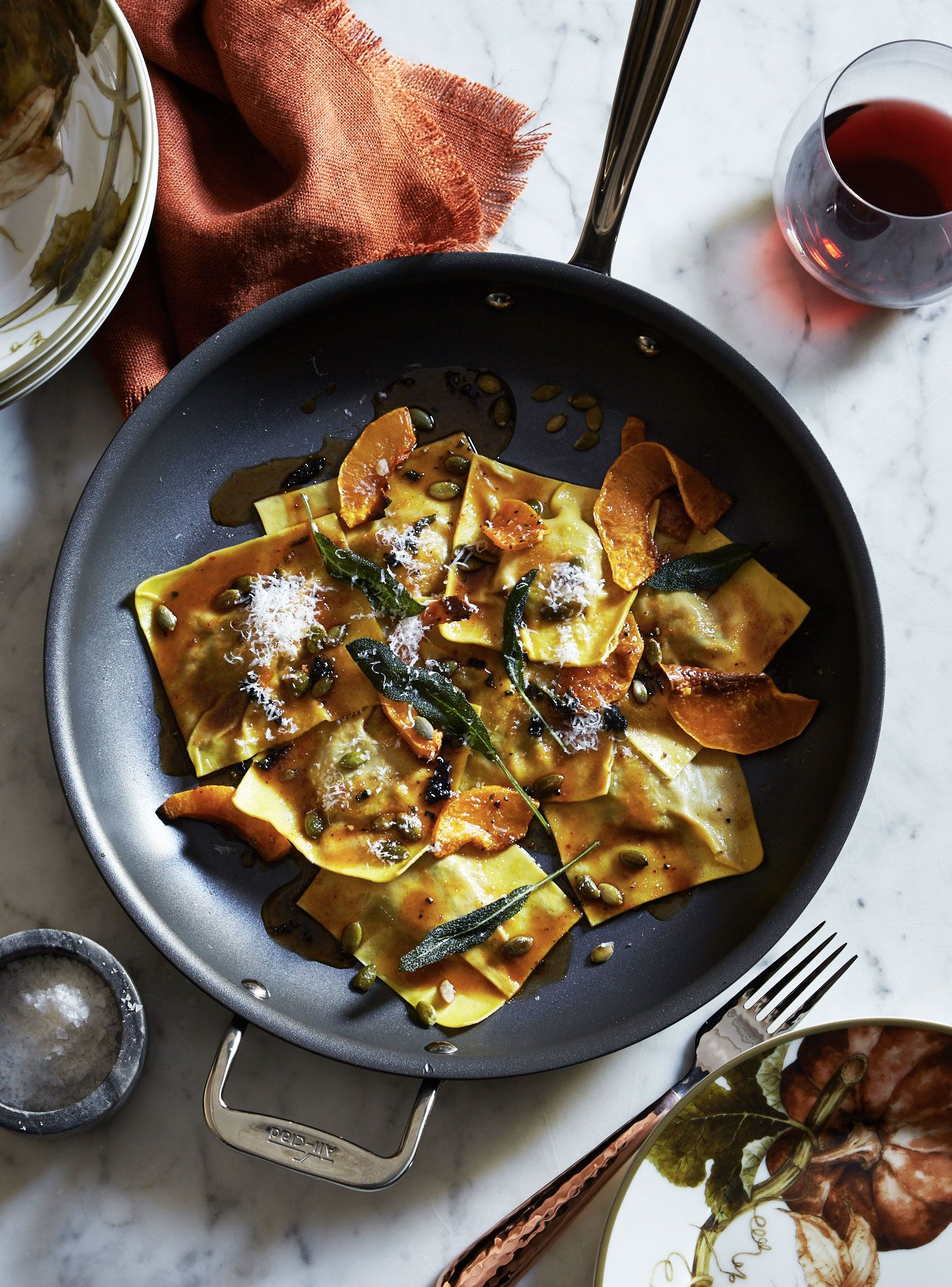 This lovely pasta dish highlights butternut squash, an ingredient that reminds us of the fall harvest. A simple sauce of lightly browned butter and fresh sage provides a savory counterpoint to the sweetness of the squash.