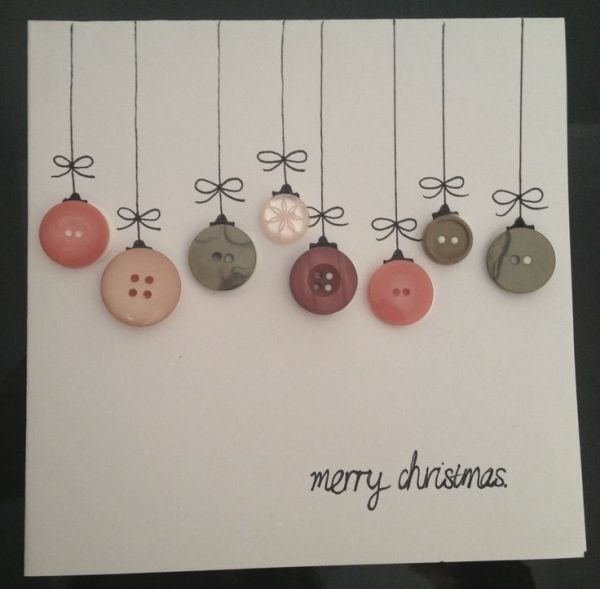 Homemade Christmas cards. Buttons and print or dra