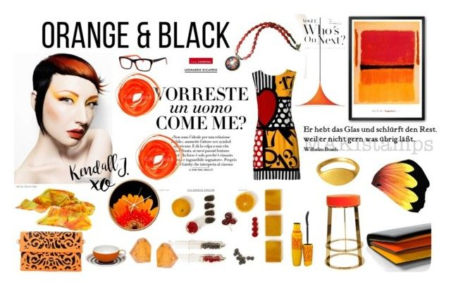 """Orange & Black"" by xena-style ❤ liked on Polyvore featuring Vanity Fair, Moschino, Vista Alegre, Monies, Polar, Gubi, Worlds Away, Paul Smith, Maybelline and xO Design"