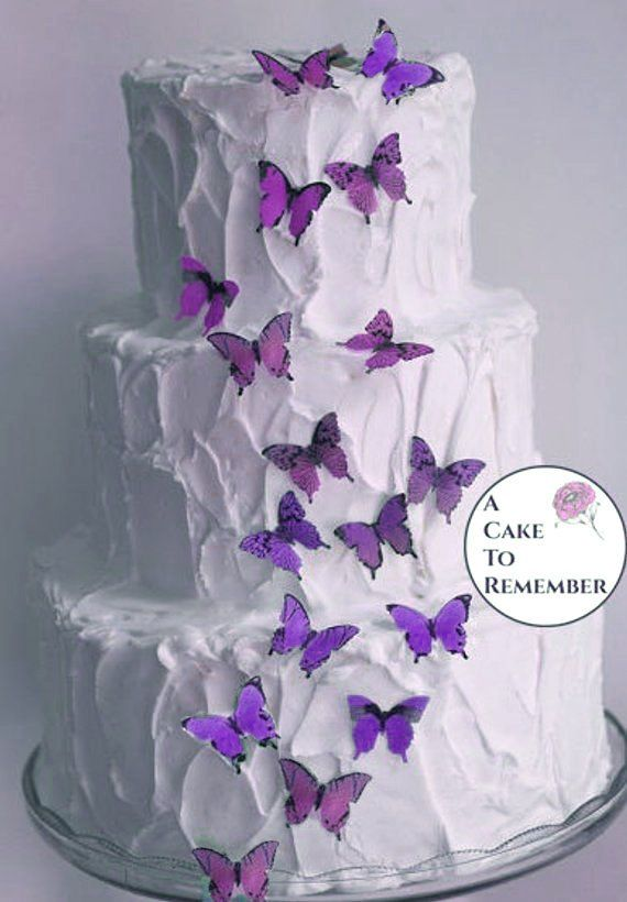34 1 Edible Butterflies Lavender Purple Ombre Wedding Cake Topper