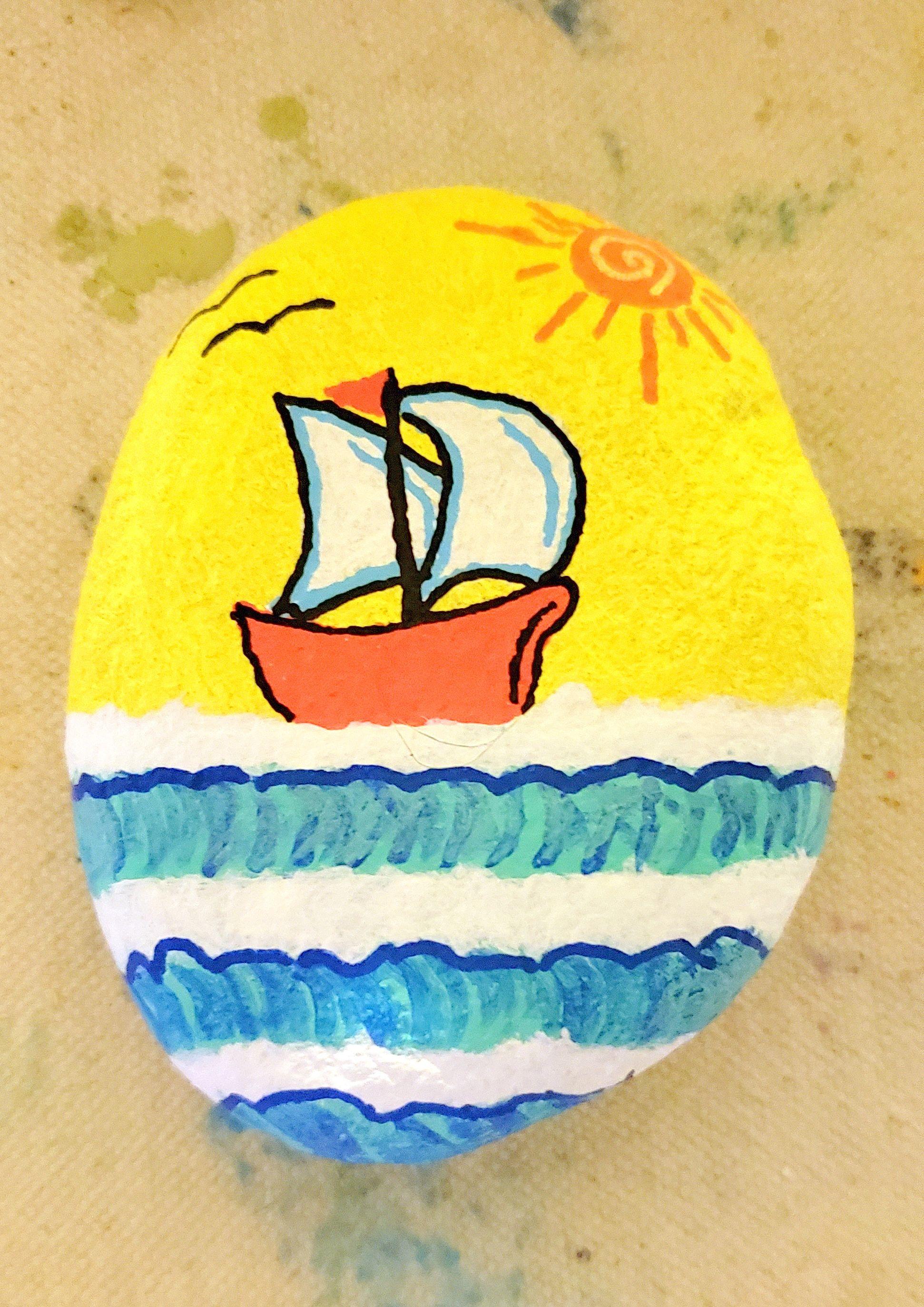 Painted Rock, Sailboat, Schooner, Ocean, Waves, Sunshine ...