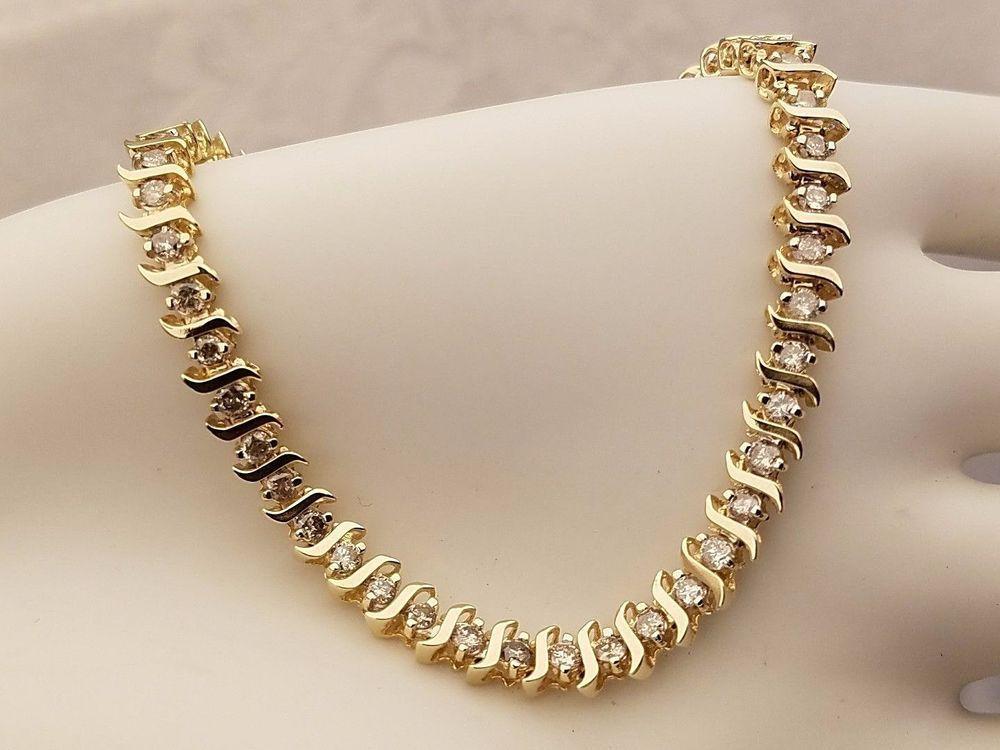 Diamond tennis bracelet 10k yellow gold s link 50 round