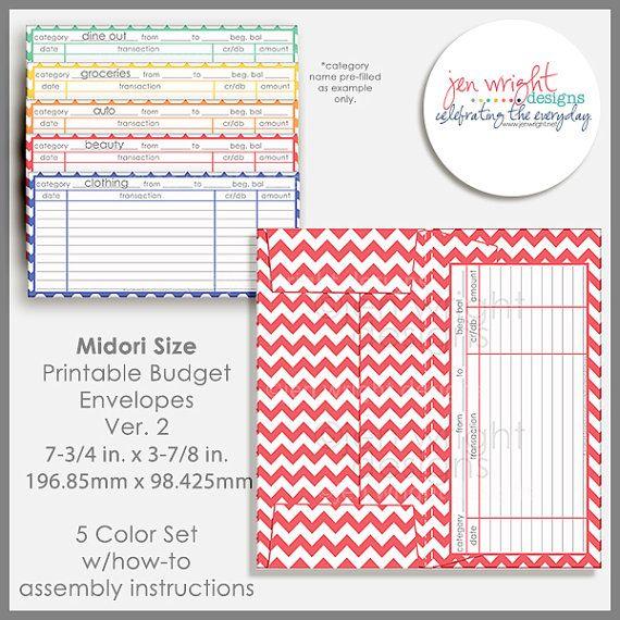 Midori Size Printable Cash Envelope Ver2 by jenwrightdesigns - money size envelopes