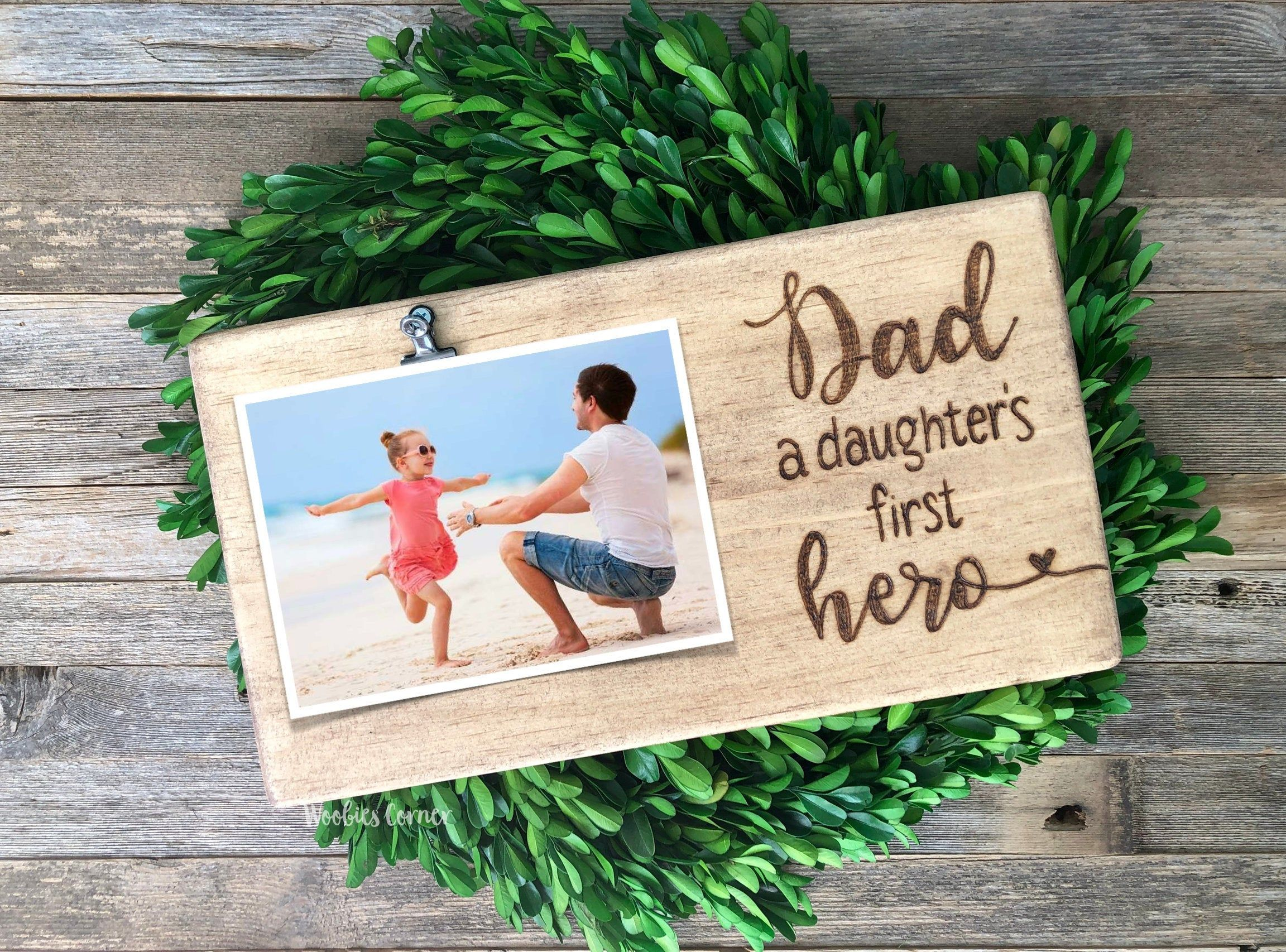 Dad a daughters first hero frame fathers day gift etsy