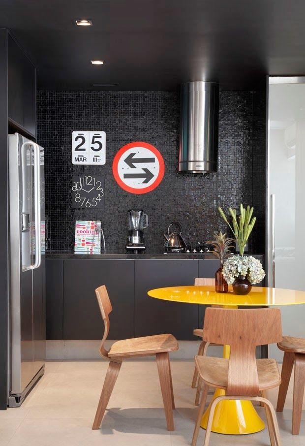 Attractive Dark Open Kitchen #decor #cozinhas #kitchens