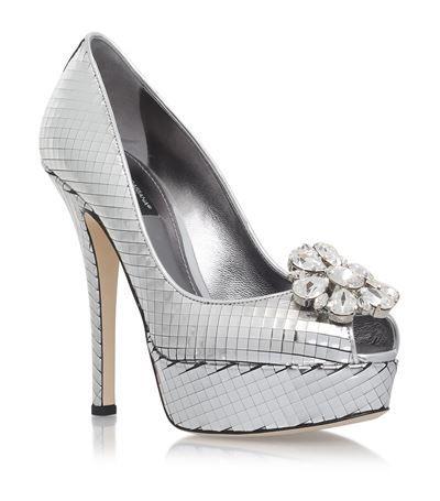 Dolce & Gabbana Bette Platform Peep Toe Pumps crystal heels silver, mirror pearl platforms