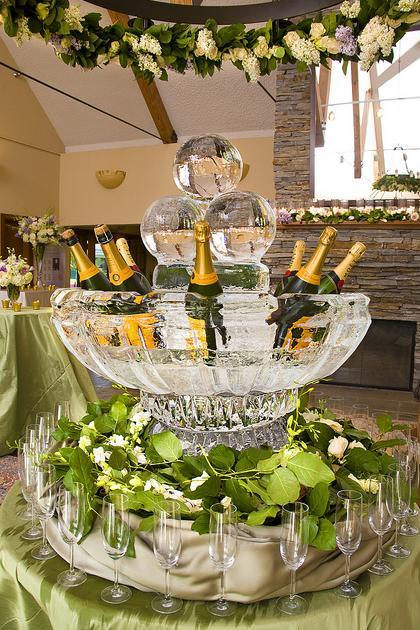 Champagne and flower garlands!