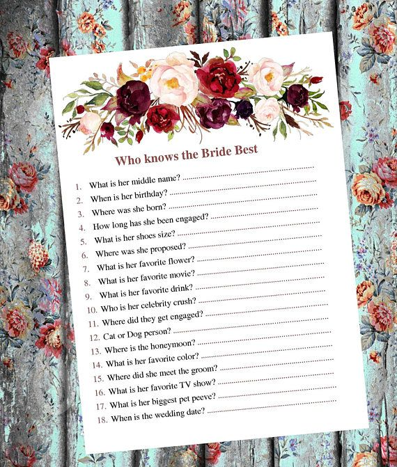 Who Knows The Bride Best Bridal Showe Game Know The Bride