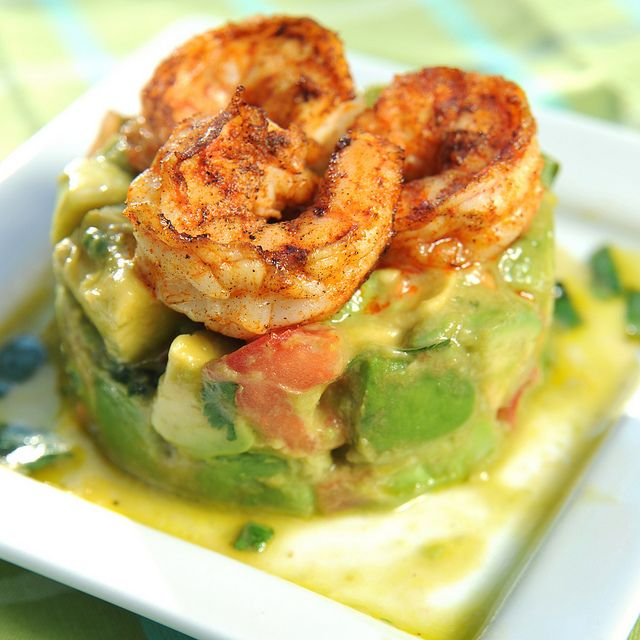 Grilled shrimp & avocado salad. Love the presentation.