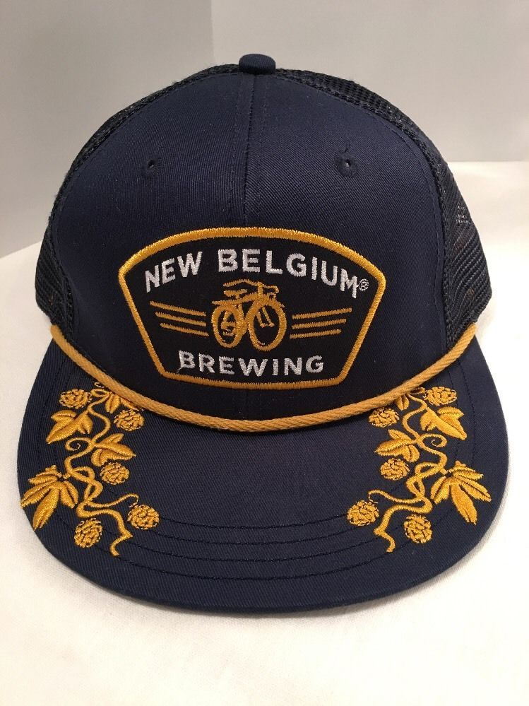 bd287e9499e New Belgium Brewing Colorado Bicycle Blue Gold SnapBack Mesh Trucker Hat Cap  (take out gold piping between brim and face)