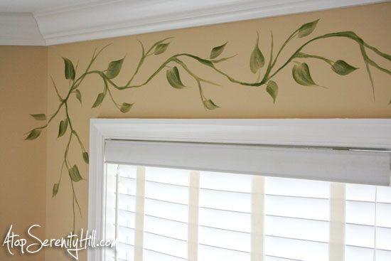 Handpainted Vine As Window Valance Alternative Wall Murals Diy