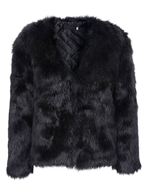 timeless design 652be eea96 Simplee Apparel Damen Mantel Winter Elegant Warm Faux Fur ...