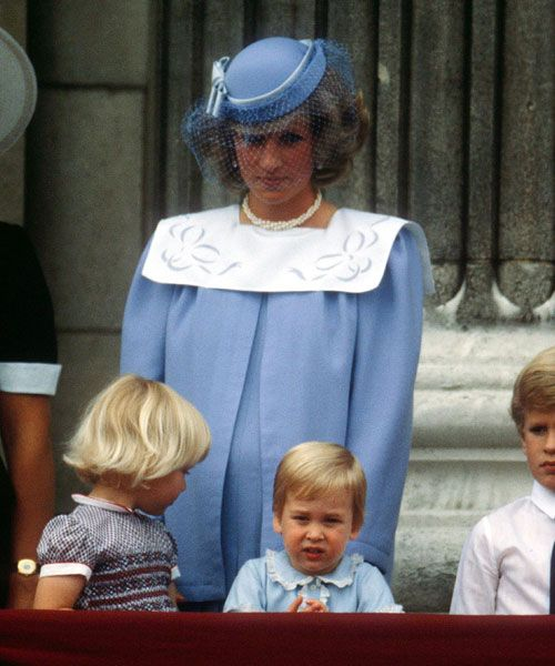 Princess Diana With Prince William On The Balcony Of