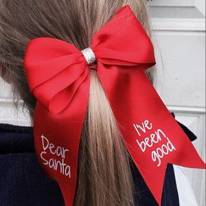 7d5fcd8c577a0 Dear Santa Hair Bow Christmas hair bow Message to Santa