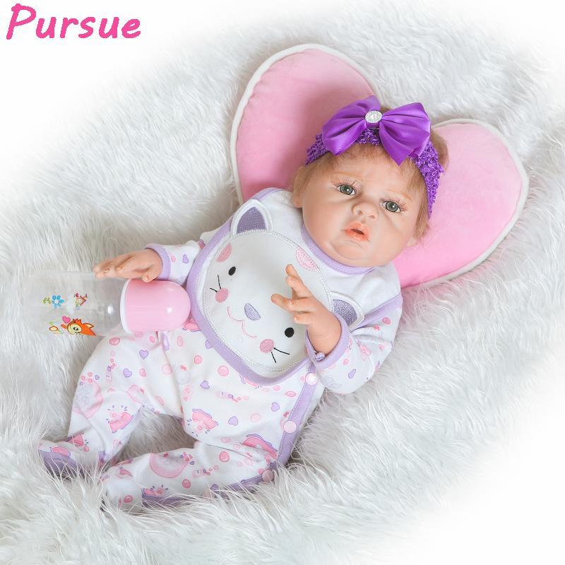 c0b26517b80 Pursue 20 inch Purple Lifelike Baby Dolls Reborn Toddler Silicone Baby Doll  Toys for Girls Boy