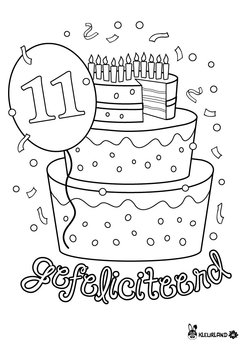 verjaardagstaart 11 jaar kleurplaten