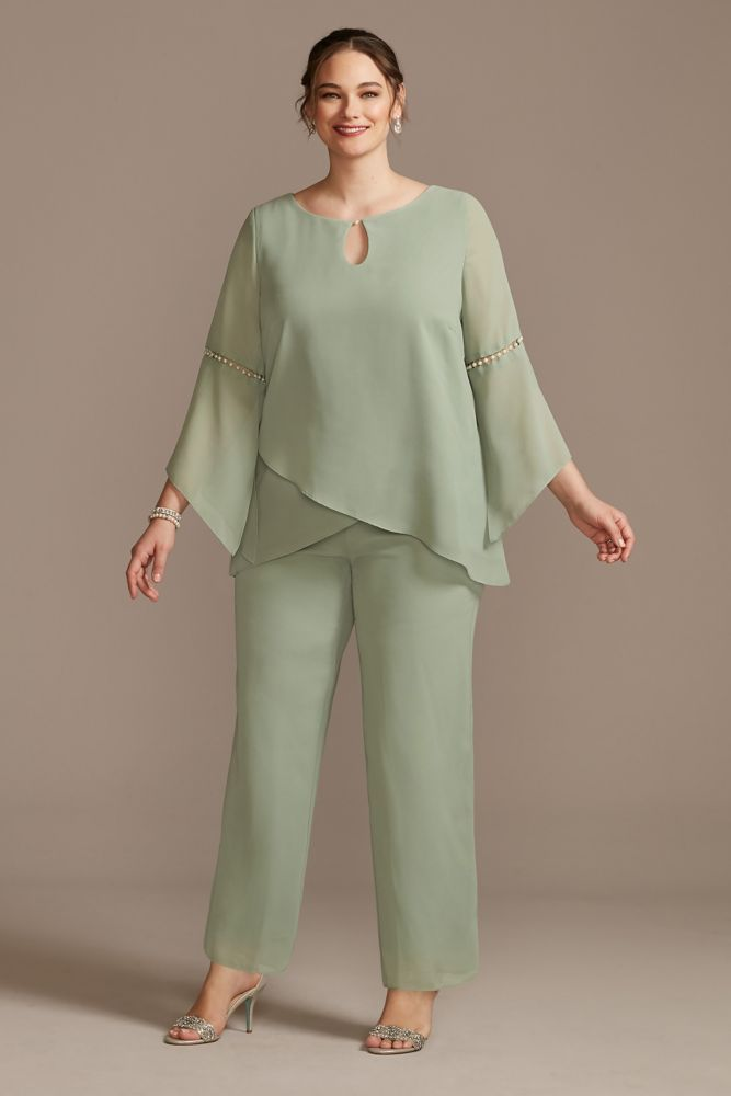Georgette Pantsuit with Beaded Inset Sleeves Style