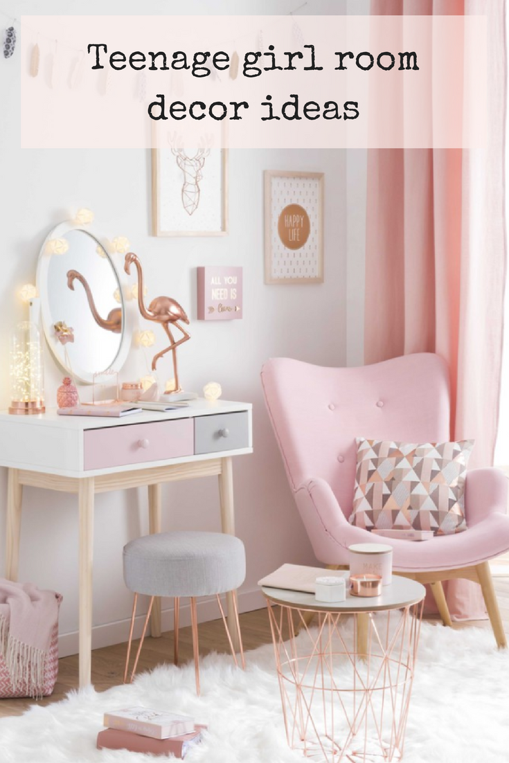 Teenage Girl Room Decor Ideas In Pink Copper Blush And Grey Add Flamingos And Cotton Ball Lights A Pink Armch Girl Room Girl Bedroom Designs Girly Bedroom