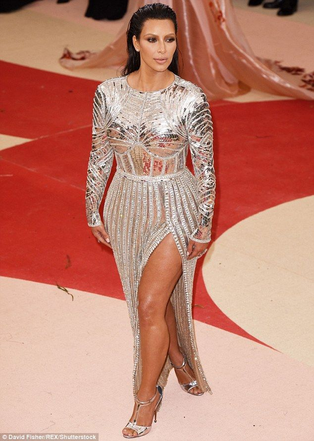 Kim Kardashian shows off incredible weight loss in silver sequined gown at  the Met Gala... four months after welcoming son Saint a76ef0226