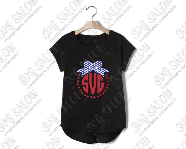 American Flag Fourth Of July Circle Monogram Chevron Stars - Custom vinyl decals machine for shirts
