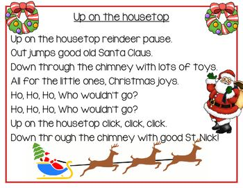 Up on the Housetop Song Poster, Pocket Chart, and Book | Christmas songs lyrics, Classic ...