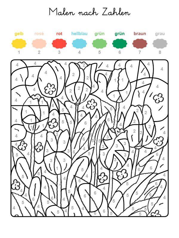 malen_nach_zahlen_tulpen 600×800 Pixel … | Mal-und Bastelvorlagen ...