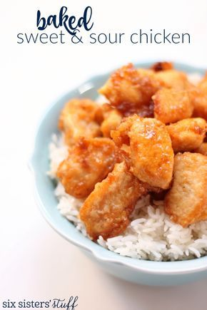 Baked Sweet and Sour Chicken - delicious Chinese takeout, made from home. Recipe from Six Sisters' Stuff