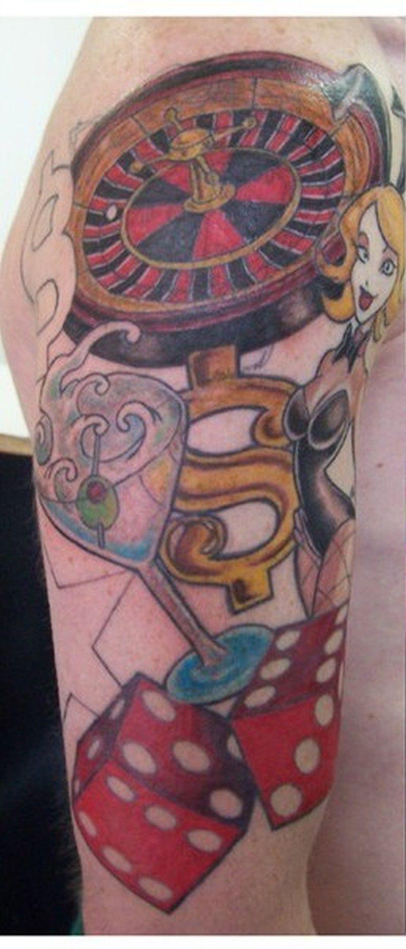 efe017440 Elegant gambling tattoo designs on sleeve   Gambling gifts mom ...