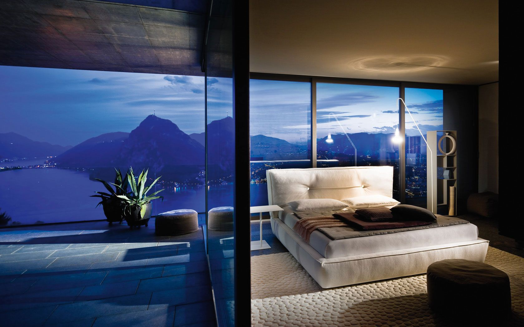Bedroom With A Glass Wall By Night
