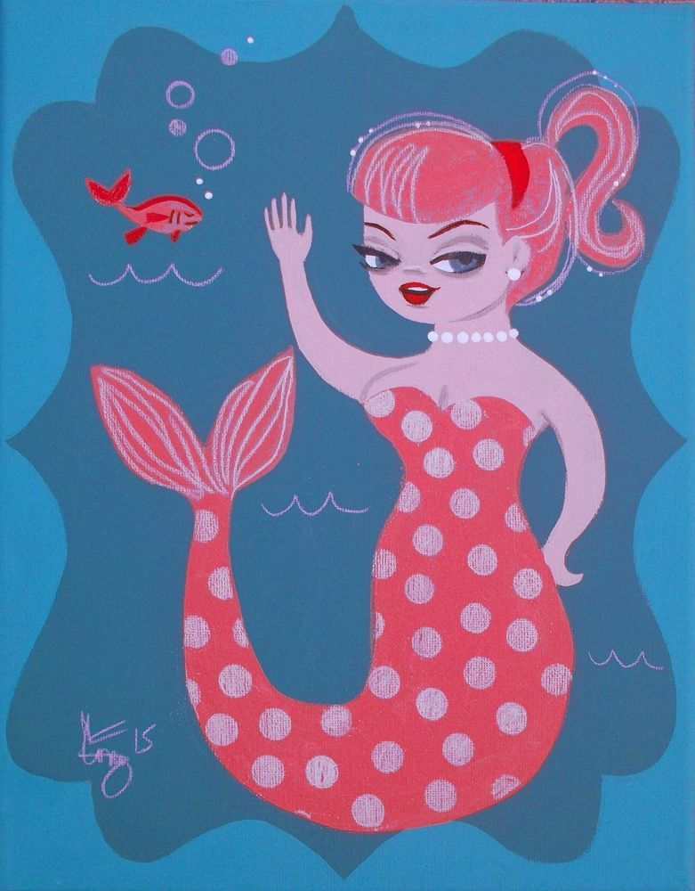 EL GATO GOMEZ PAINTING RETRO TIKI BAR MERMAID PIN UP GIRL TROPICAL MID CENTURY  #Modernism