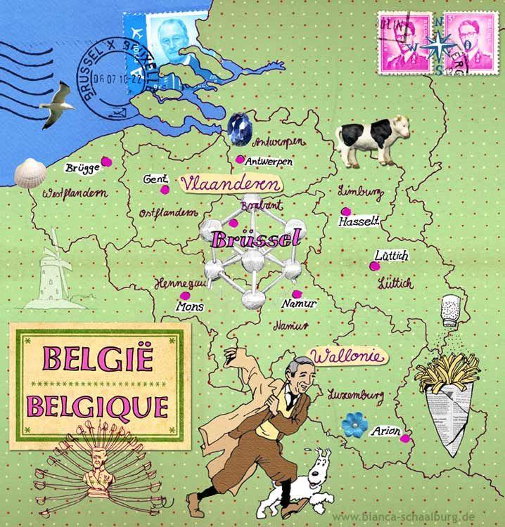 Belgien Herge Lasst Grussen Karte Von Bianca Schaalburg