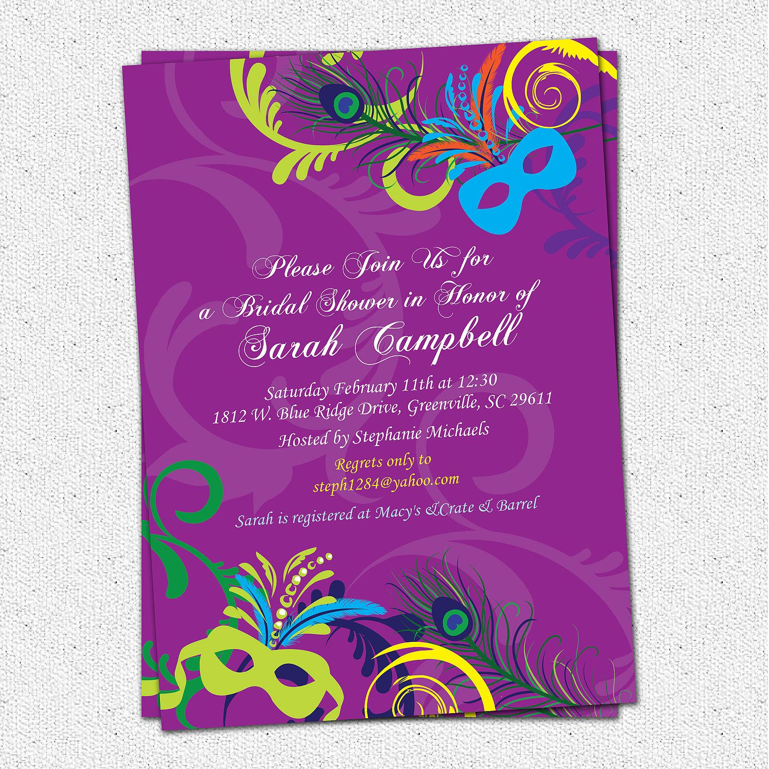 Bridal Shower Invitation Printable Mardigras By Ohcreativeone