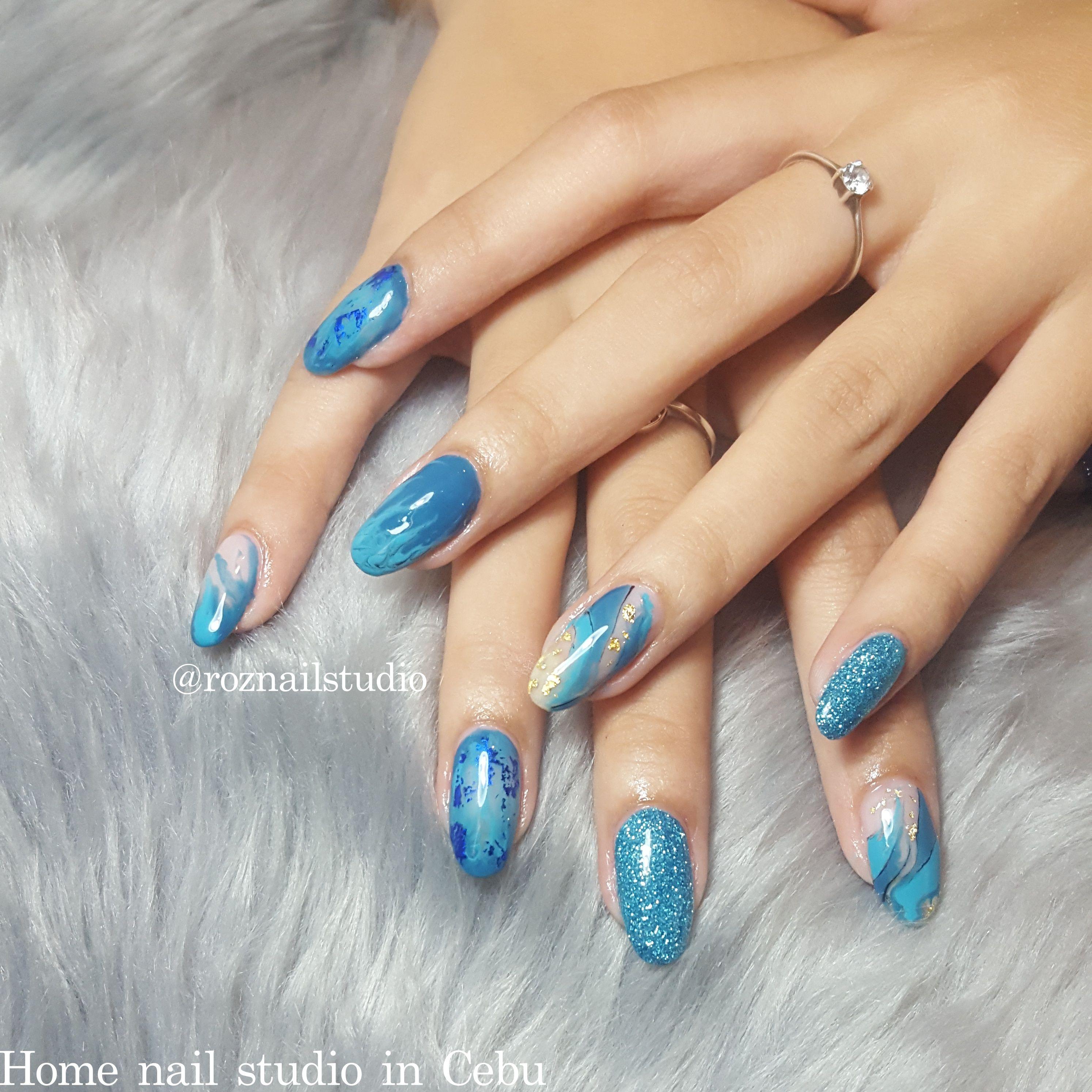 Gel Overlay With Custom Blue Luxury Gel Design By N Roz Owner Of Roz Nail Studio Cebu Gel Designs Nail Studio Gel Overlay