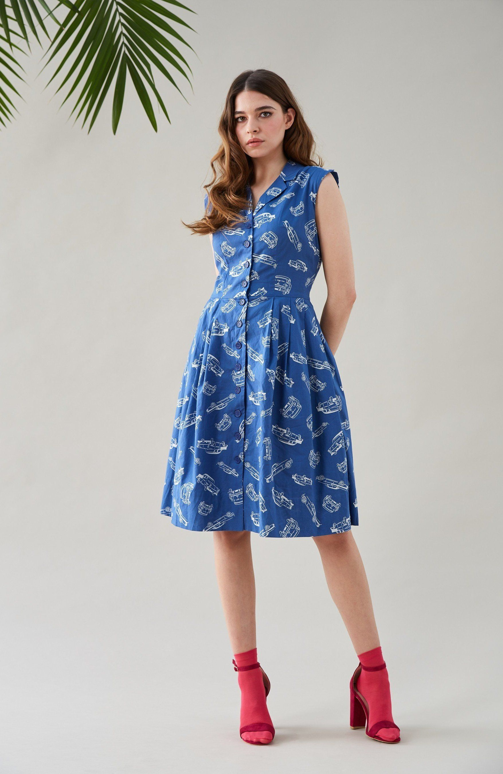 Emily And Fin Frankie Dress In Vintage Car Dresses Emily And Fin Printed Shirt Dress