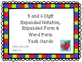 24 5-and 6-digit Place Value Task Cards.  This set contains 24 task cards with 4 question types: expanded form, expanded notation, place values and word form.A regular recording sheet and a modified recording sheet with place value blanks are included.TEKS: 3.2A, 3.2B4.NBT.A.2Please leave feedback!