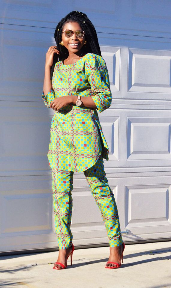 africain ankara danshiki deux pi ces haut et pantalon africain chabine pinterest pantalon. Black Bedroom Furniture Sets. Home Design Ideas