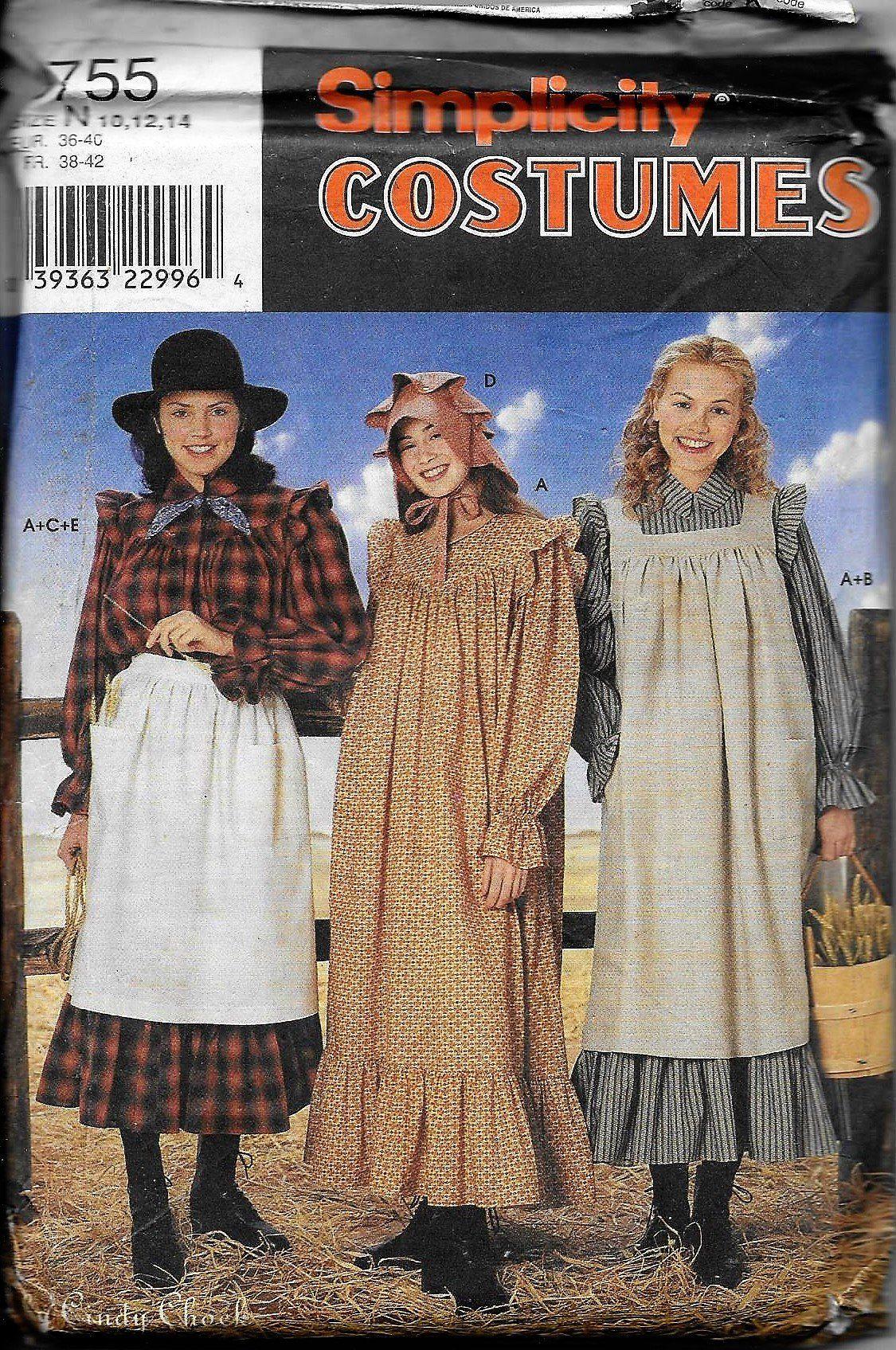 fca7234d8bf Simplicity 8755 Misses Prairie Costume Pattern