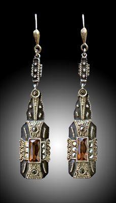 Earrings   Theodor Fahrner. Gilded silver, enamel, marcasite, citrine. ca. 1928, German