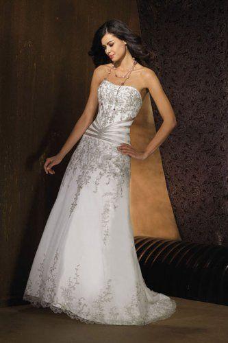 A-line organza embroidery Chapel train strapless wedding dress
