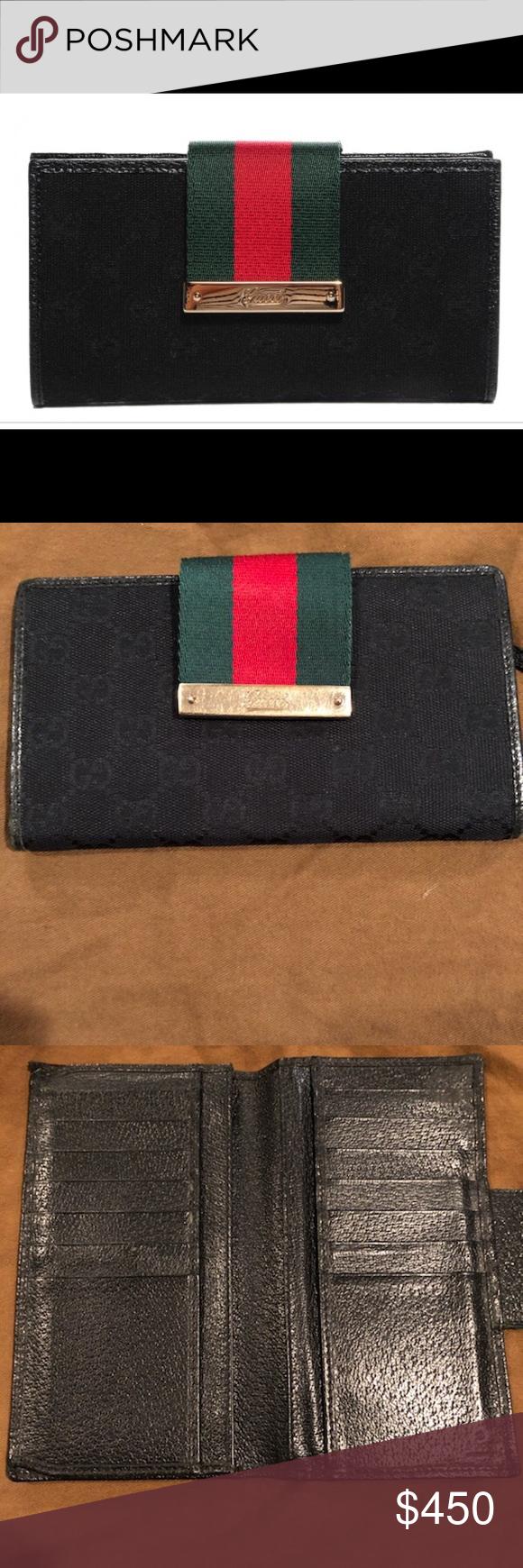 d20a3676d224 GUCCI Monogram Ladies Web Continental Wallet Black ❤️GUCCI Monogram Ladies  Web Continental Wallet Black Beautiful