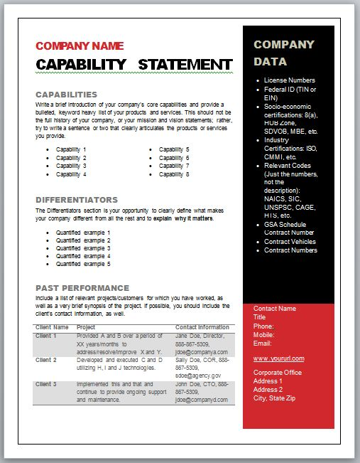 Capability Statement Template Free -    wwwvalery-novoselsky - statement template