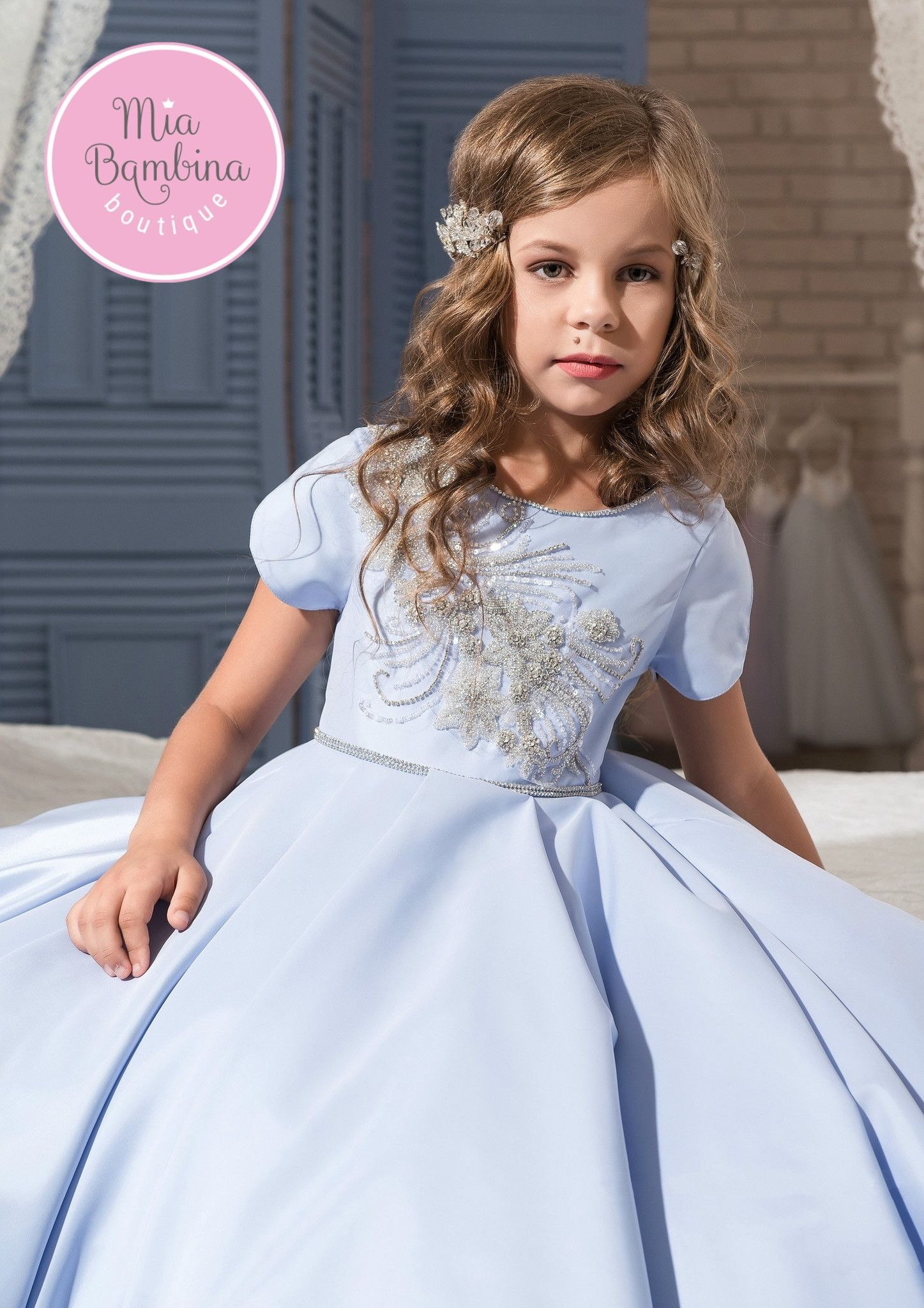 Flower Girls Dress Party Prom Maxi Gown Pleated Satin Baptism Bow Vintage Gown