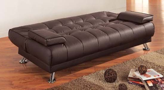 Coaster Futon Sofa Bed With Removable Arm Rests Brown Vinyl Puplar