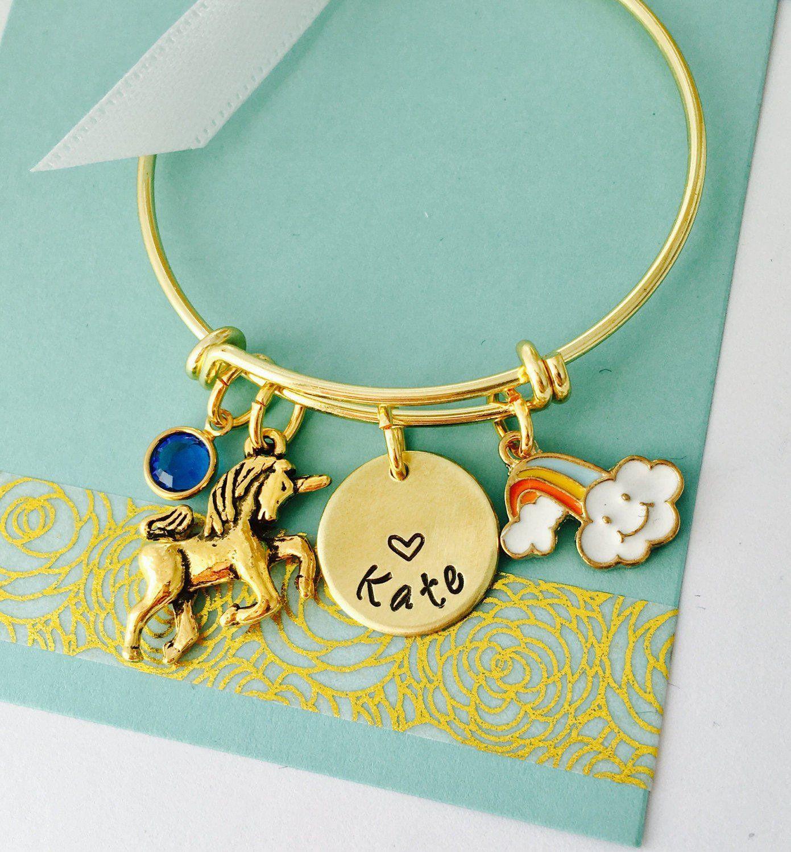 Unicorn bracelet personalized kids bracelet little girls bracelet