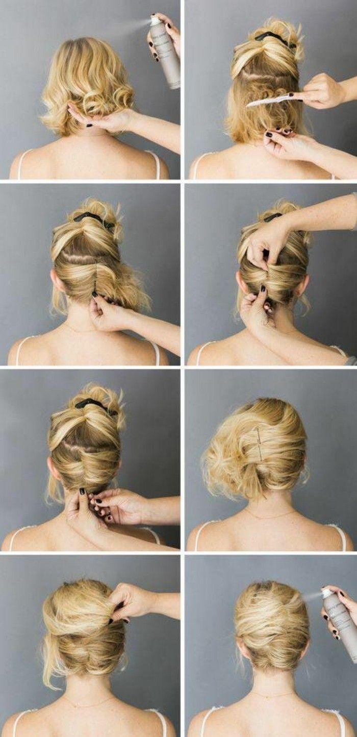 Ideen Wie Sie Kurze Haare Hochstecken Konnen Frisur Hochgesteckt Hochsteckfrisur Hochsteckfrisuren Kurze Haare