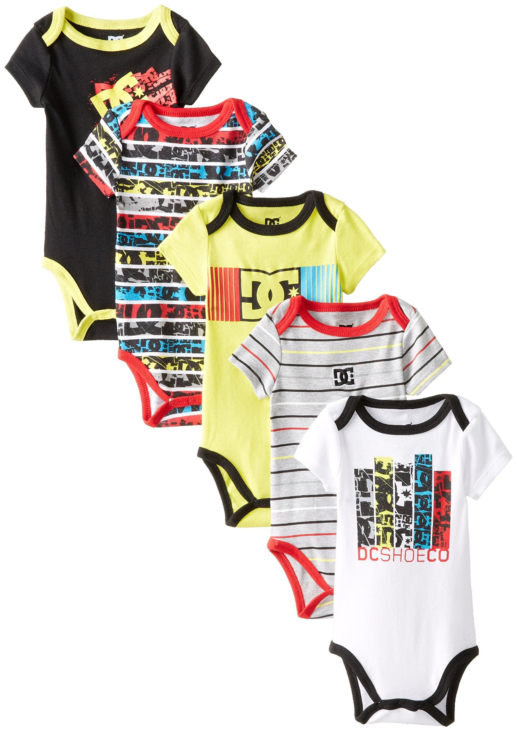 DC Shoes Co Baby Boys Newborn 5 Pack Bodysuits Yellow Black Red