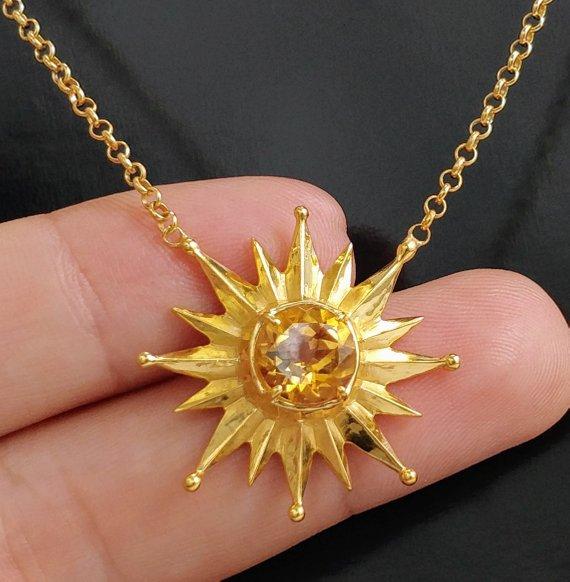 November Birthstone Sun Yellow Citrine Flower Pendant Silver